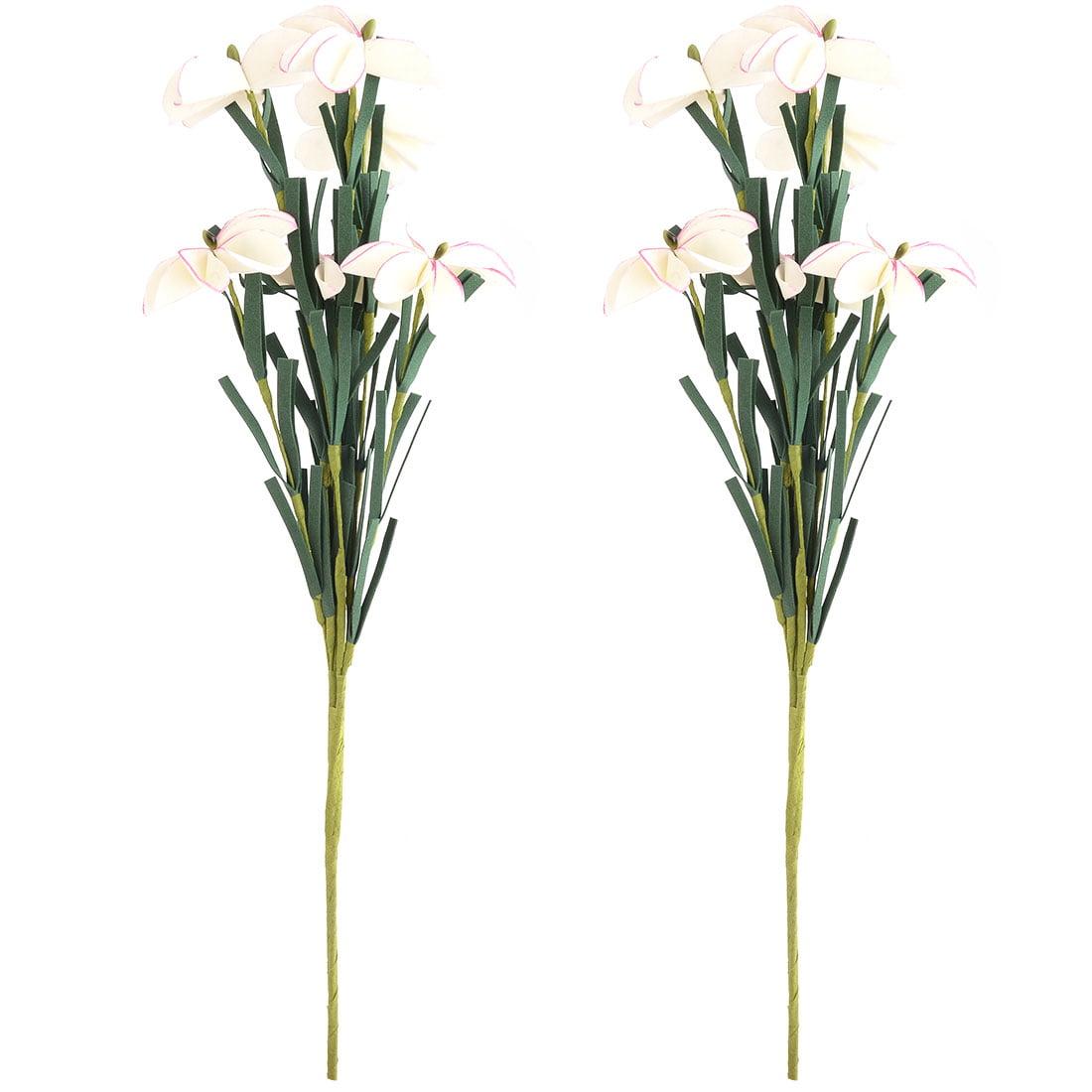 Festival Foam DIY Artificial Rose Bouquet Flower Beige 16.5 Inch Height 2pcs
