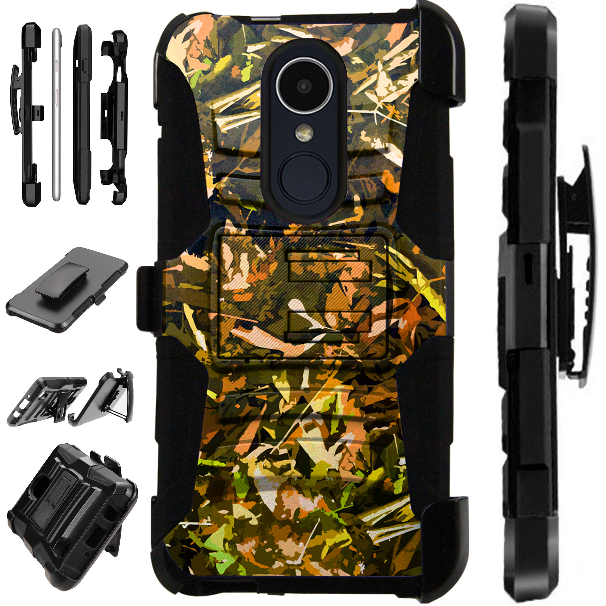 Compatible HMD Nokia 3.1 Plus | Feller Case Armor Hybrid Phone Cover LuxGuard Holster (Camo Foliage Brown)