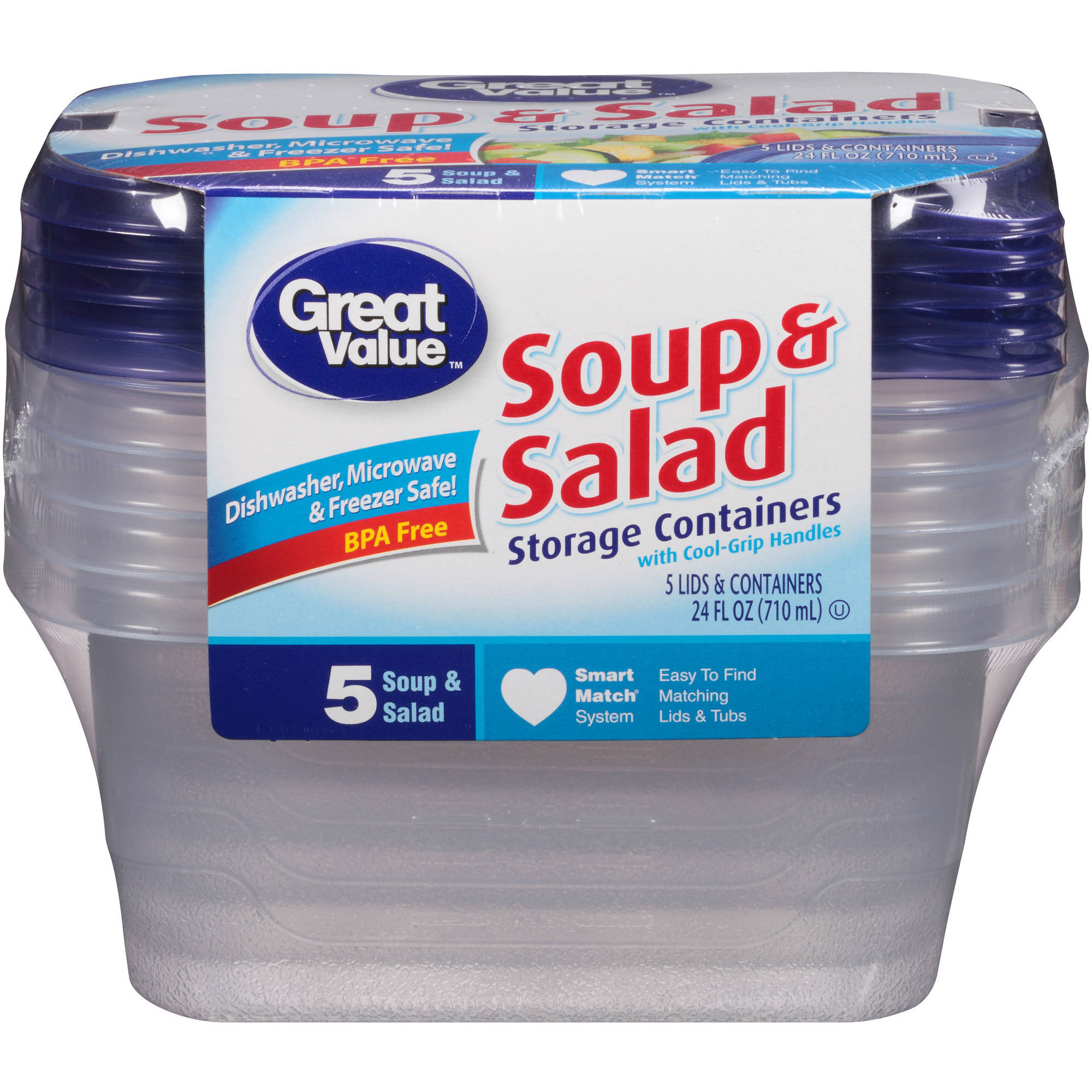 Great Value Soup and Salad Storage Containers, 24 fl oz, 5 count