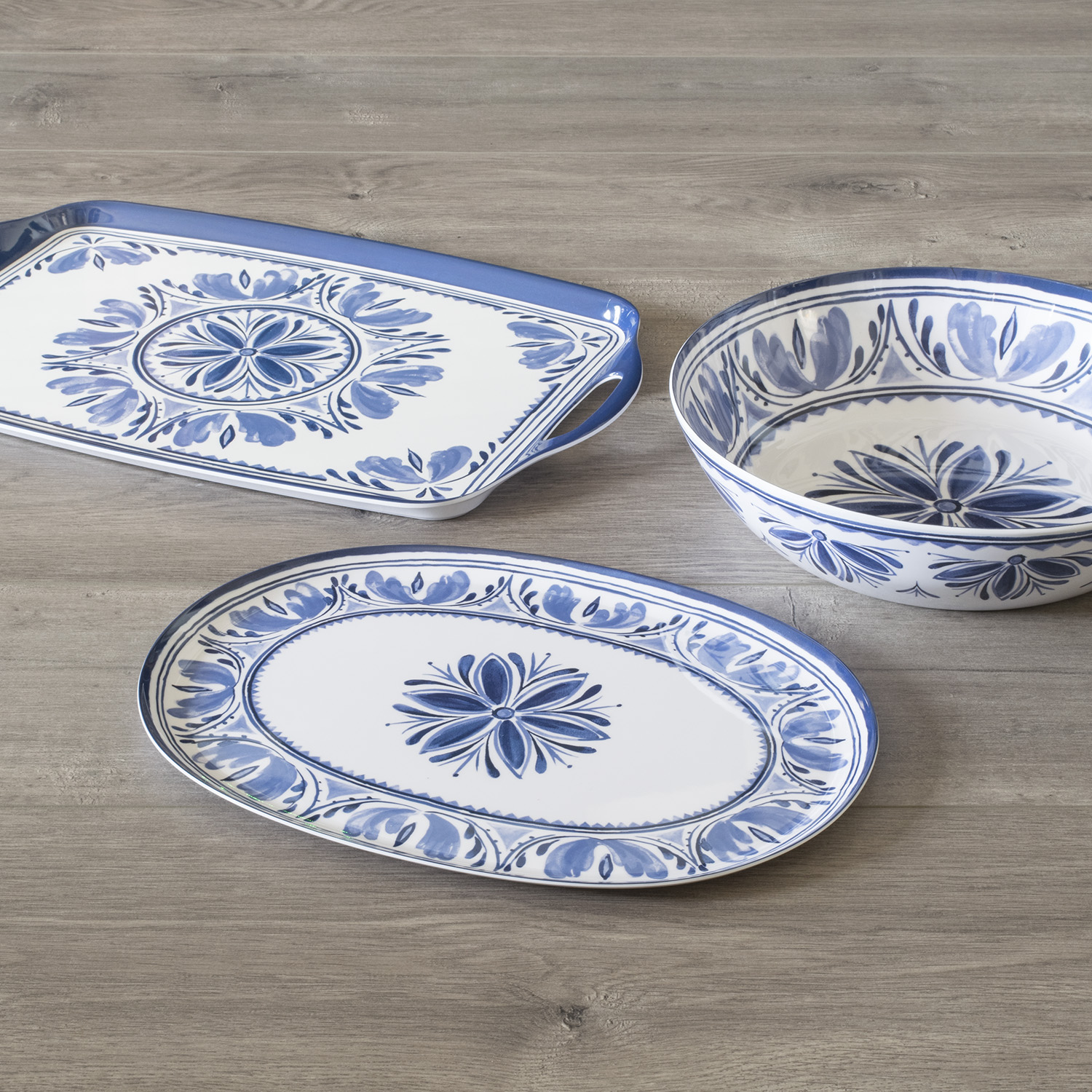 Mainstays Blue Medallion 3 Piece Melamine Serving Set