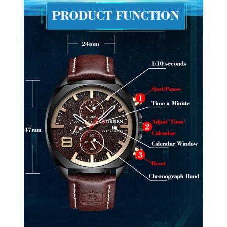 CURREN 8324 montre de sport de quartz d'homme de marque de mode décontracté mâle multi-fonction montre-bracelet étanche - image 6 of 7