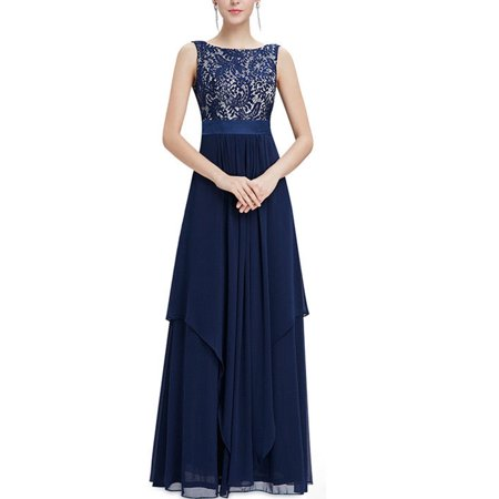 Women's Casual Sleeveless Chiffon Maxi Dresses Wedding Bridesmaid Evening Formal Party Long Full Length Prom Ball Gowns (Casual Formal Wear)