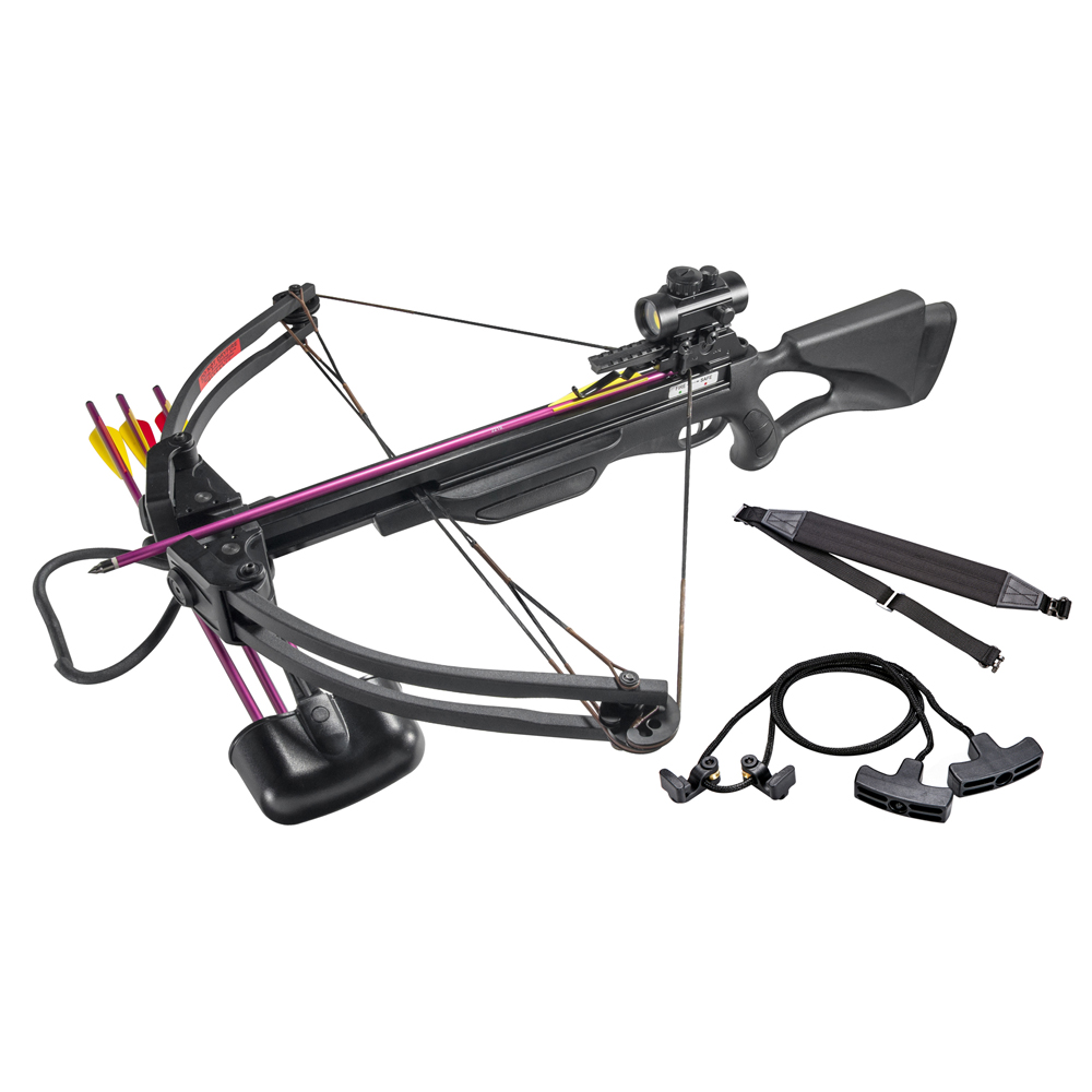 Leader Accessories Crossbow Package 175lbs 285fps Archery Equipment Hunting Bow with Quiver and 4pcs of Aluminum Arrow by Leader Accessories