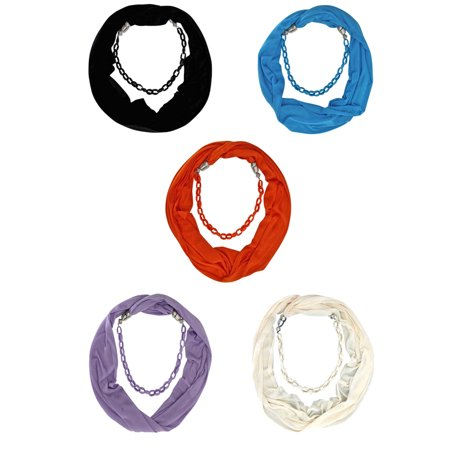 Scarf Jewelry Accessory - Mixed Color 5-Pack Chain Link Jewelry Infinity Scarf