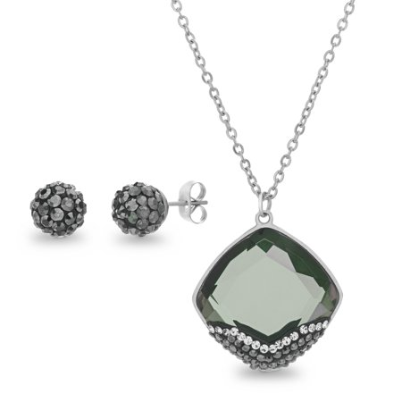 Lesa Michele Women's Black Simulated Moldavite and Crystal Fireball Stud Earring and Diamond Shape Design Pendant 30