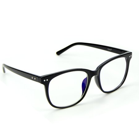 Cyxus Blue Light Blocking Computer Glasses for Reduce Eye Strain Headache, Transparent Lens and Big Black Fashion