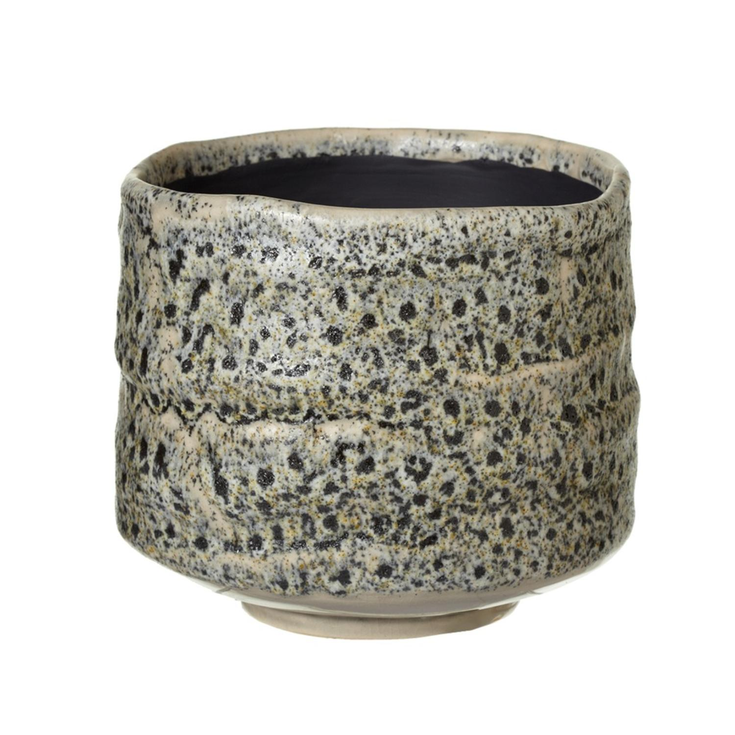Set of 2 Grey Stoneware Decorative Small Organic Flower Pot 5.75""