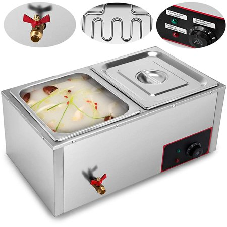BestEquip 110V Commercial Food Warmer Electric Food Warmer 850W Stainless Steel Bain Marie Buffet Food Warmer Steam Table for Catering and - Pretzel Warmer