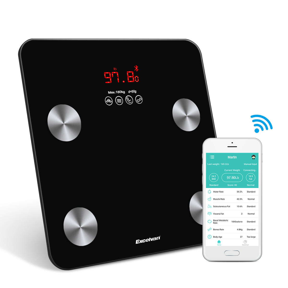 Body Fat Scale, Smart Wireless Digital Weight Scale Bluetooth Body Composition Monitor with App for Weight, BMI,BMR,Muscle Mass (White)