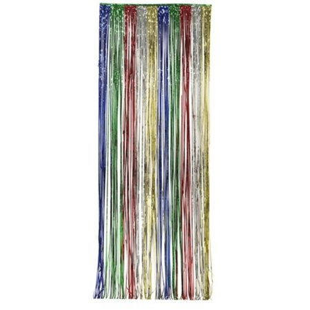 Pack of 6 Multi-Colored Fringe Hanging Foil Door Curtain Party Decorations 8' x 3' - Coloured Streamers