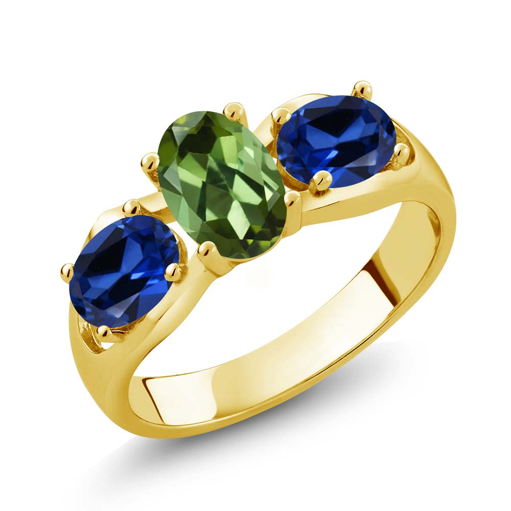 1.70 Ct Oval Green Tourmaline Blue Simulated Sapphire 14K Yellow Gold Ring by