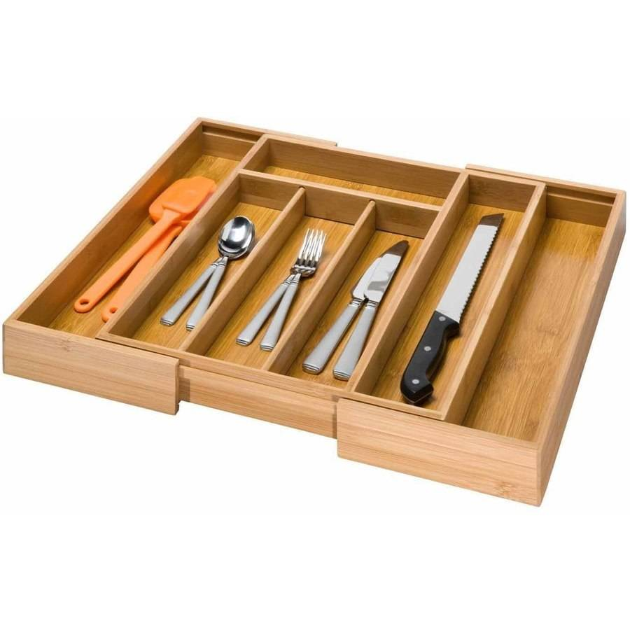Honey Can Do Bamboo Scratch-Resistant Expandable Cutlery Tray, Brown
