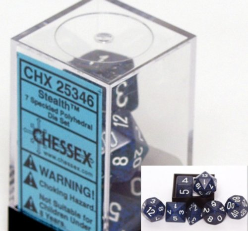 Polyhedral 7-Die Chessex Dice Set - Speckled Stealth