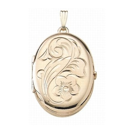 Solid 14K Yellow Gold Oval Four Photo Locket - 1 Inch X 1-1/4 Inch Solid 14K Yellow Gold - Four Picture Locket