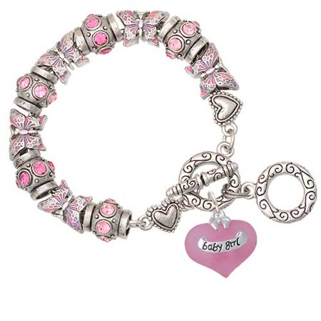 Baby Girl Pink Heart with Baby Feet Pink Butterfly Bead Charm - Girls Charm Bracelet