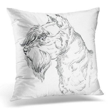 CMFUN Canine Adult Miniature Schnauzer Dog Hand Drawing in Black Color White Animal Cheerful Pillow Case Cushion Cover 16x16 Inches (Black White Miniature Schnauzer)