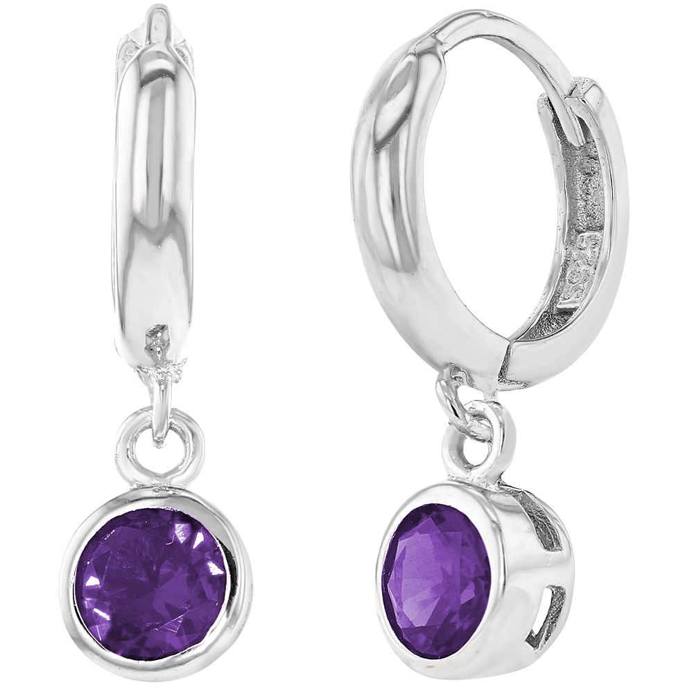925 Sterling Silver Purple Girls Children Dangle Huggie Earrings 10mm