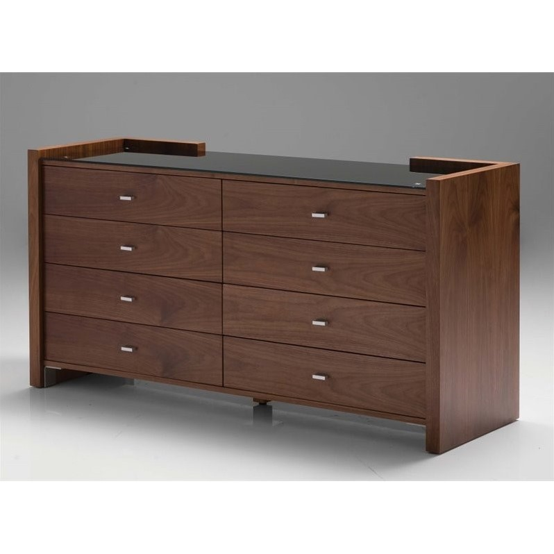 Mobital Diva Glass Top 8 Drawer Double Dresser in Natural Walnut