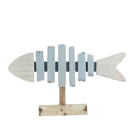 "11.25"" Nautical White and Blue Driftwood Fish Bone Table Decoration](Nautical Table Decoration Ideas)"