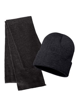 Rugby Solid Plain Long Beanie & Scarf Knit Sports Winter Set for Men & Women - Stay Warm & Stylish (Charcoal)