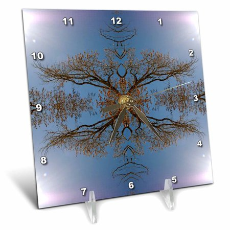 3dRose Tree Vines Illuminated - Desk Clock, 6 by 6-inch