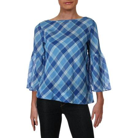 Lauren Ralph Lauren Womens Petites Plaid Bell Sleeves Pullover Top Blue PS