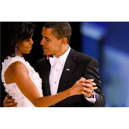 Laminated Poster Barack & Michelle Obama Dancing Glossy Poster Inauguration Us Poster Print 24 x 36 (Inauguration Bronze)
