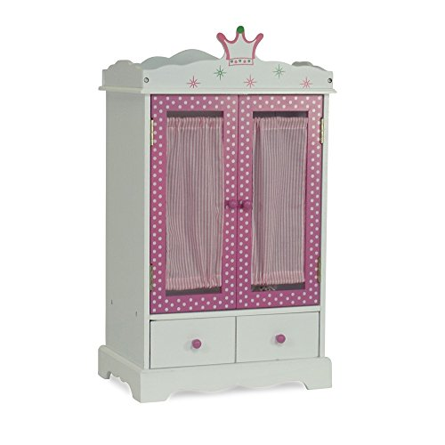 18 Inch Doll Wish Crown Storage | Doll Armoire Closet Furniture | Fits 18u0022 American Girl Dolls - Storage for 18 Inch Doll Clothes & Dresses
