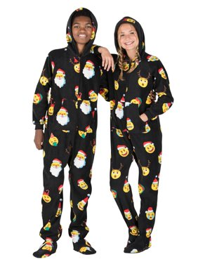 Footed Pajamas - Merry Emoji Xmas Kids Hoodie Fleece Onesie
