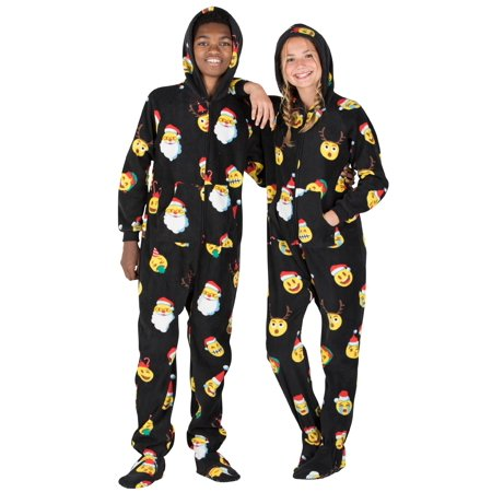 Footed Pajamas - Merry Emoji Xmas Kids Hoodie Fleece Onesie ()
