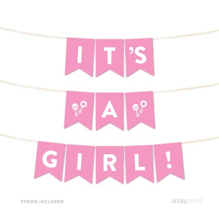 Girl Baby Shower Banner (It's A Girl! Pink Girl Baby Shower Hanging Pennant Garland Party)