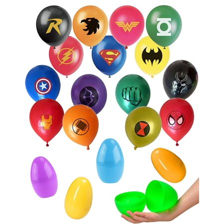 Jumbo Plastic Egg Superhero Balloon Party Favor Supplies - 15ct 12'' Avenger and Justice League Hero Theme Balloons in a Large 6 inch Easter Egg Capsule - Avenger Party