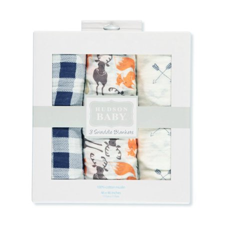 Hudson Baby Boy and Girl Muslin Swaddle Blankets, 3-Pack - Forest