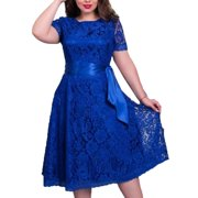 Nicesee Women Plus Size Short Sleeve Lace Dress Party Cocktail Wedding XS-6XL