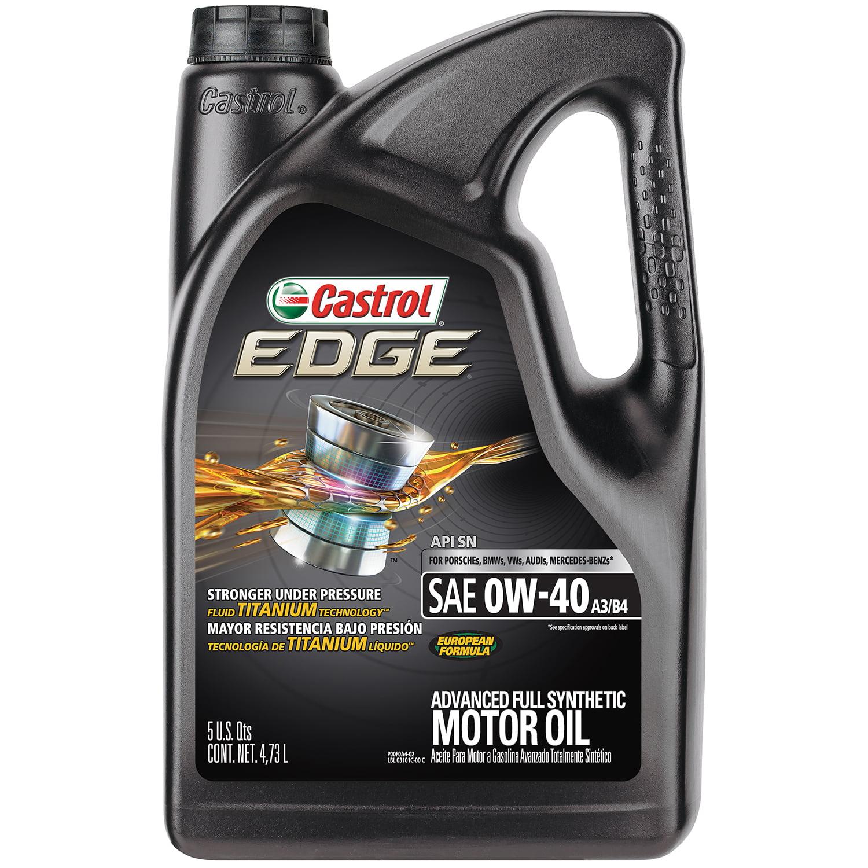 Castrol EDGE 0W-40 A3/B4 Advanced Full Synthetic Motor Oil, 5 QT