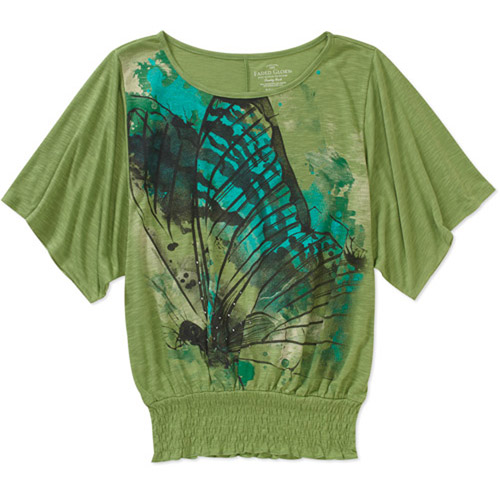 Faded Glory Women's Graphic Smocked Bottom Top
