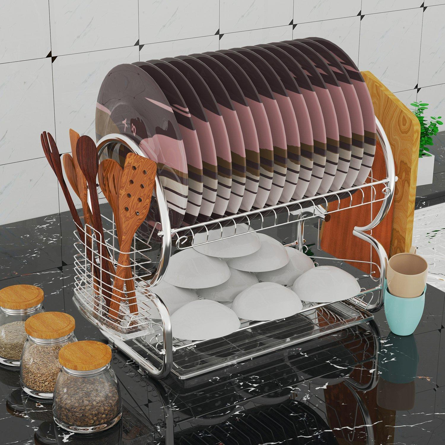 Dish Drying Rack, Veckle 2 Tier Dish Drainer Easy Install Non-Slip Dish Rack C hrome Plated Dish Dryer with Removable Drain Board, Utensil Holder