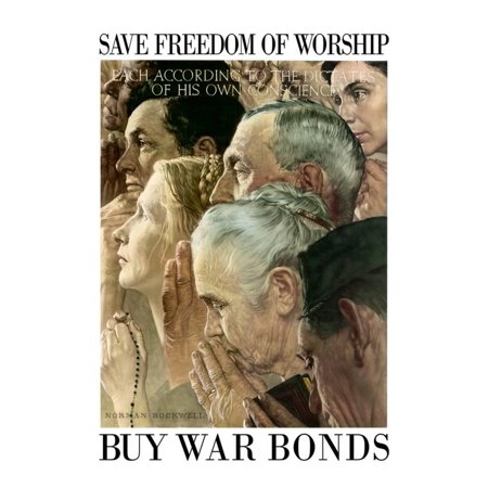Norman Rockwell Save Freedom of Worship WWII War Propaganda Art Print...