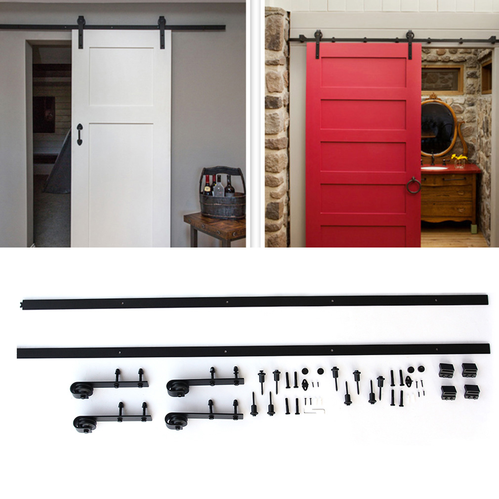 Sliding Barn Door Hardware Kit, 12ft Antique Country Style Interior Sliding Barn Door Track Hardware Kit Dark Coffee Steel, Black