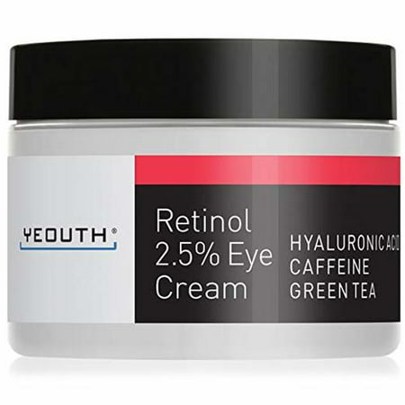 Retinol Eye Cream 2.5% from YEOUTH Boosted w/ Retinol, Hyaluronic Acid, Caffeine, Green Tea, Anti Wrinkle, Anti Aging, Firm Skin, Even Skin Tone, Moisturize and Hydrate -