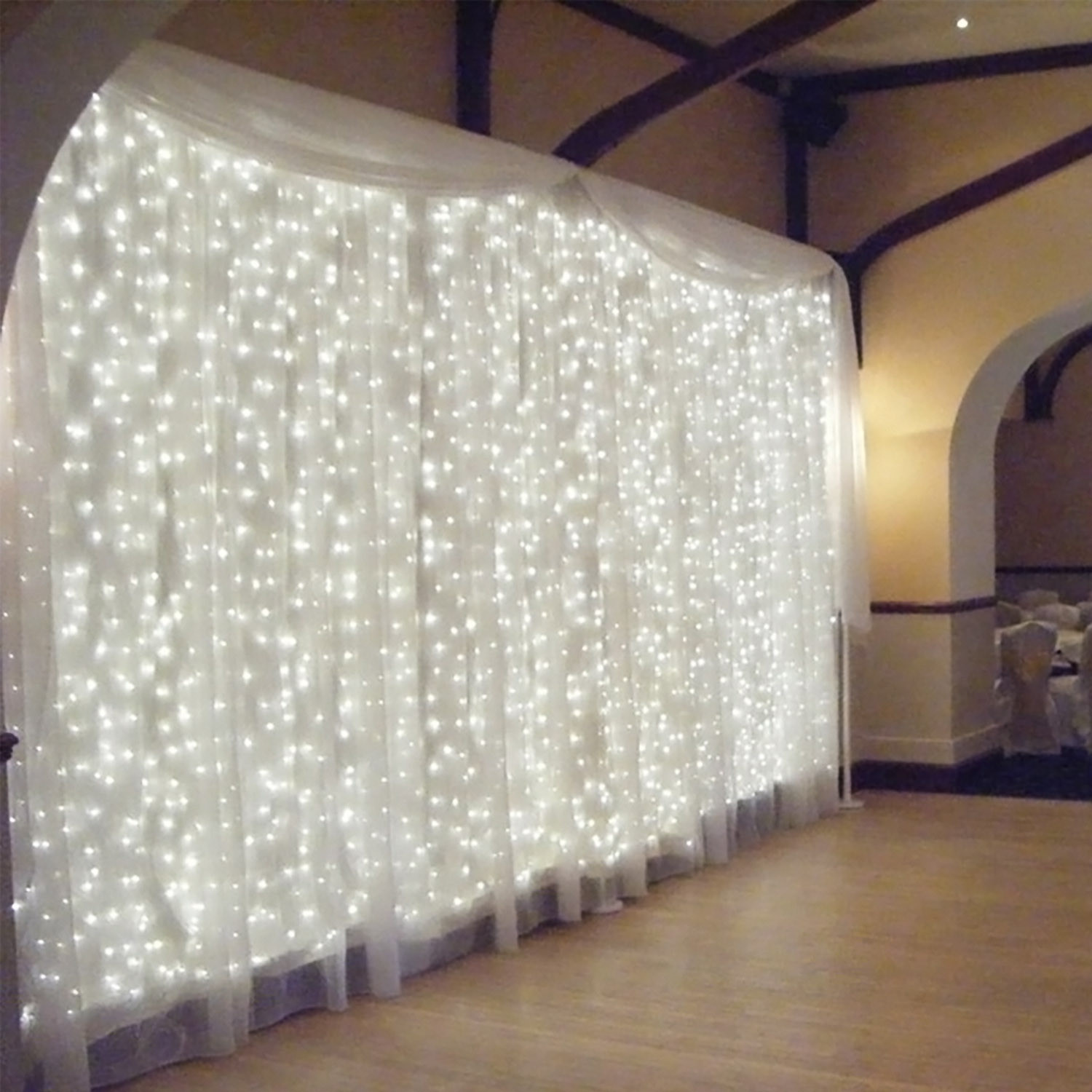 Torchstar 9.8ft X 9.8ft Led Curtain Lights, Starry Christmas String Light, Indoor Decoration For Festival Wedding Party Living Room Bedroom, Daylight by Torch Star