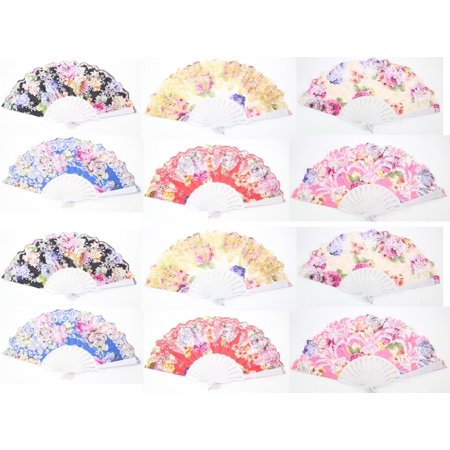Set of 12 Large Chinese Japanese Nylon Lace Floral Folding Hand Fans