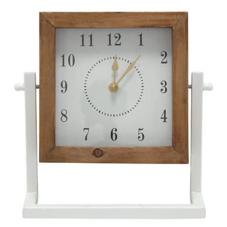 Stratton Home Decor Gavin Square Tabletop Clock Leaf Tabletop Clock
