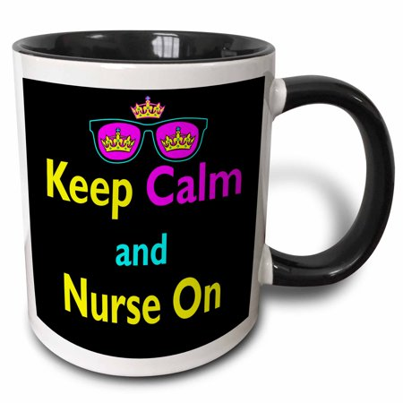3dRose CMYK Keep Calm Parody Hipster Crown And Sunglasses Keep Calm And Nurse On - Two Tone Black Mug, 11-ounce