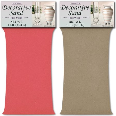 HeroFiber Colored Unity Sand (2 lbs.) - Bubblegum Pink and Beach - 1 lbs. per Color - Decorative Art Sand for Weddings, Vase Filling, Kids' Craft - Beach Wedding Colors