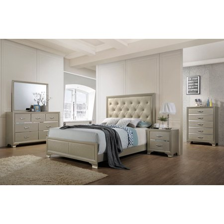 Gymax Modern 5 Piece Bedroom Furniture Set Bed Dresser Mirror Chest ...