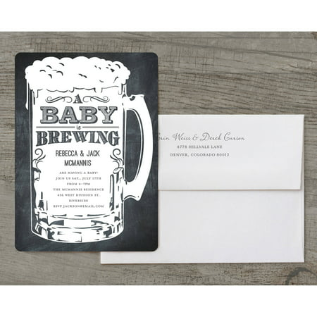 A Baby is Brewing Deluxe Baby Invitation](Pink And Grey Baby Shower Invitations)