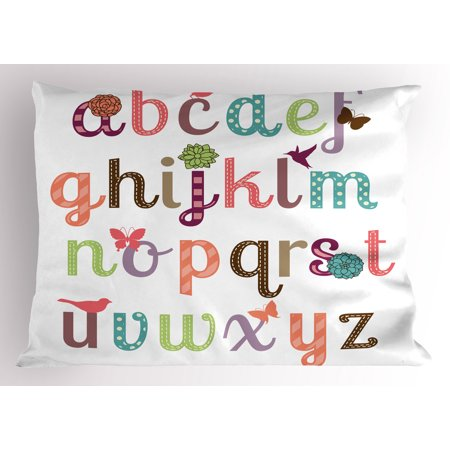 Letters Pillow Sham Girly Feminine Typography Set Colorful Letters Beauteous Girly Decorative Pillows