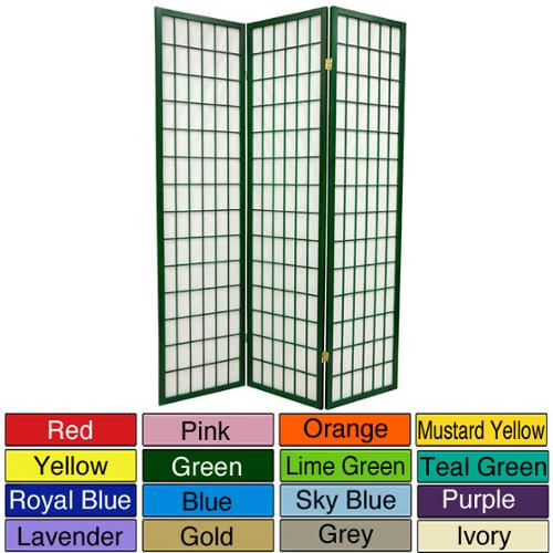 Wood and Rice Paper 6-foot 3-panel Windowpane Room Divider (China) 3 Panel - Ivory