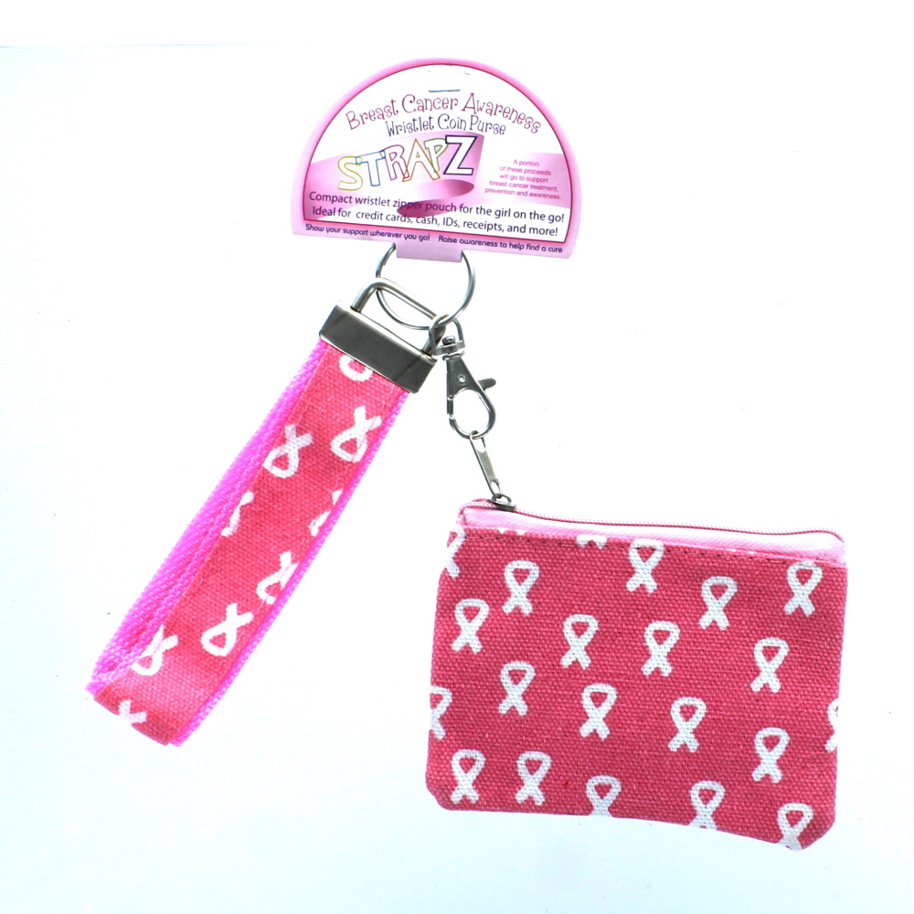 Pink Breast Cancer Awareness Ribbon Wristlet Coin Purse With Strap Key Chain